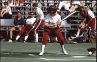 Augsburg women's softball player at bat, May 1992