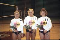 Augsburg women's volleyball team seniors take a picture on senior night, circa 1985.