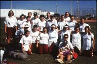 Augsburg women's softball team players take a team picture, 1995.