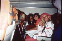 Augsburg women's volleyball team players on a team trip, circa 1985.