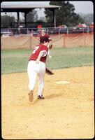 An Augsburg women's softball team player in action, 1975.