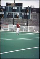 An Augsburg women's softball team outfield player in action, 1996.