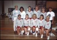Augsburg women's volleyball team players take a team picture, circa 1985.