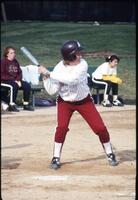 An Augsburg women's softball team batter in action, 1995.