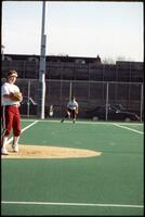 An Augsburg women's softball team pitcher in action, 1994.