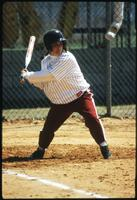 An Augsburg women's softball team batter player in action, 1996.
