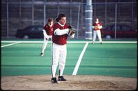 An Augsburg women's softball team pitcher during a game, 1995.