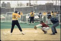 An Augsburg women's softball team catcher in action, 1996.