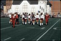 Augsburg women's soccer team players before a game, circa 1985.