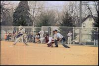 An Augsburg women's catcher in a game, 1996.
