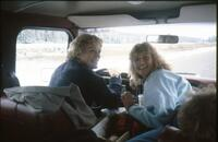 Augsburg women's softball team players on a team trip, circa 1985.