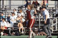 An Augsburg women's softball team catcher in action, 1995.