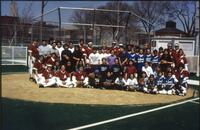 Augsburg women's softball team takes a group picture, 1996.
