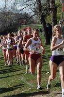 Augsburg women's cross country team runner running, circa 2000