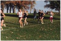 Augsburg women's cross country team runners during a race, 2001