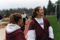 Augsburg women's track and field team runners laughing, circa 2000