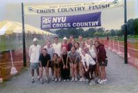 Augsburg women's and men's cross country team runners take a photo together at the finish line for NYU Cross Country, circa 2000