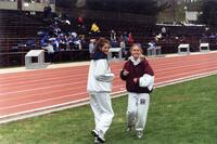 Augsburg women's track and field team runners smiling, circa 2000