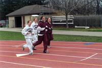 Augsburg women's track and field team runners running together, circa 2000
