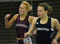 Augsburg women's track and field team runner running, circa 2005