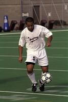 Augsburg men's soccer player with ball, 2001
