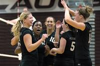 Augsburg women's volleyball players celebrating, circa 2005