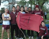 Augsburg men's cross country team runners take a group picture, 2011.