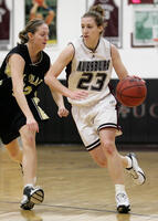 Augsburg women's basketball player dribbles ball, circa 2005