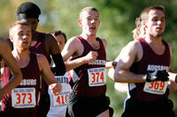 Augsburg men's cross country team runners running in a race at the 2013 MIAC Championships, 2013