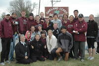 Augsburg cross country team runners take a team photo, 2001.