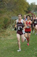 Augsburg men's cross country team runners running in a race, 2001.