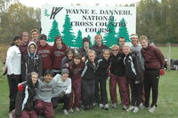 Augsburg cross country team runners at the Wayne E. Dannehl national cross country course, 2001.
