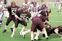 Augsburg men's football players during a game, 2001