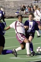 Augsburg women's soccer player during a game, 2001