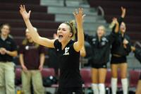 Augsburg women's volleyball player celebrating, circa 2005