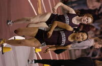 Augsburg women's track and field team runners running in a race, 2005.