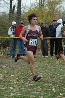 An Augsburg men's cross country runner in motion during a race, 2001.
