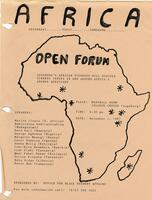 "Flyer for the ""Africa: Yesterday...Today...Tomorrow..."" Open Forum, 1987"