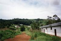 A dirt path in a grassy field with buildings in Africa, 1990
