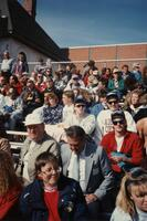 A group of unidentified people sitting in the bleachers at an Augsburg sports event, 1992
