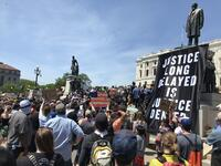 """One Day in May"" Banner during the George Floyd Protests at the Minnesota State Capitol, 2020"