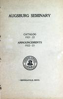 Augsburg College Catalog, 1921-1922