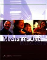 Master of Arts in Leadership (MAL) Catalog, 2005
