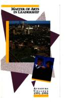 Master of Arts in Leadership (MAL) Catalog, 1991-1993