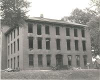 Old Main (1872-1948), demolition, west facade of west wing, facing southeast, 1948.