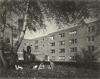 Gerda Mortensen Hall, south facade and Sivertsen Hall, west facade, facing northeast, circa 1965.