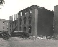 Old Main (1872-1948), demolition, center and east wing, facing southeast, 1949.