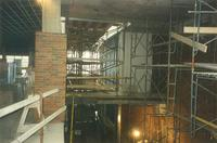 Lindell Library, construction of third floor, facing east, 1997.