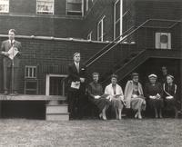 Gerda Mortensen Hall, groundbreaking ceremony, at east facade of Sivertsen Hall, circa 1955.