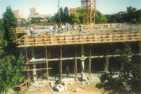 Lindell Library, construction of third floor, facing north, 1996.